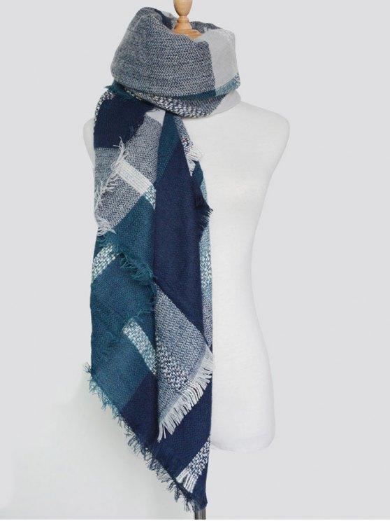 Plaid Pattern Fringed Knit Blanket Scarf - PURPLISH BLUE  Mobile