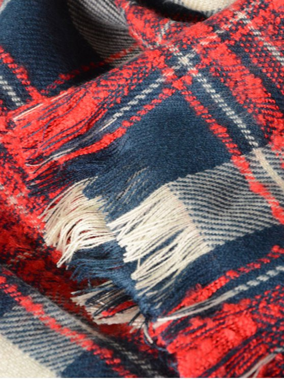Plaid Pattern Fringed Oblong Scarf -   Mobile