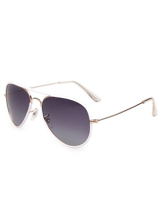 Full Rims Metal Pilot Sunglasses - WHITE  Mobile