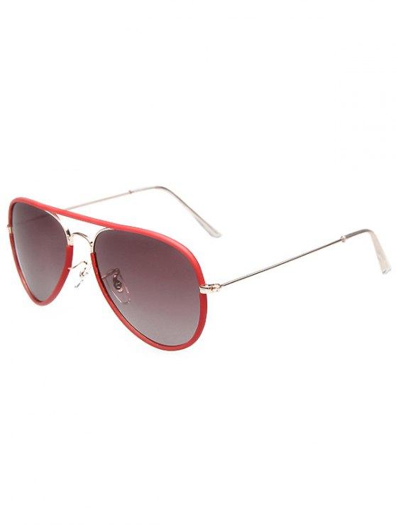 Full Rims Metal Pilot Sunglasses - RED  Mobile
