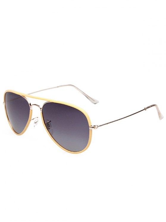 Full Rims Metal Pilot Sunglasses - YELLOW  Mobile