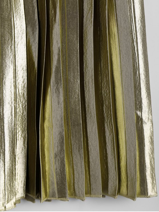 Zippered Pleated Midi Skirt - GOLDEN ONE SIZE Mobile