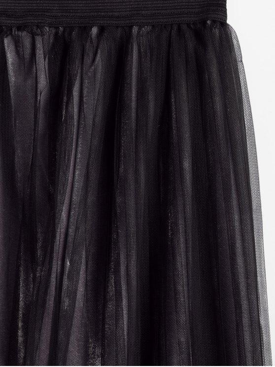 Velvet Voile Panel Pleated Skirt - GRAY ONE SIZE Mobile