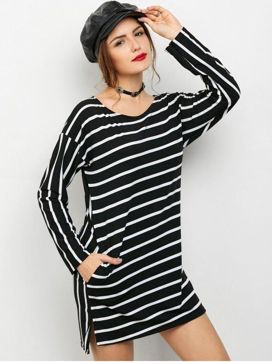 Hendidura lateral de manga larga a rayas del mini vestido - Raya S