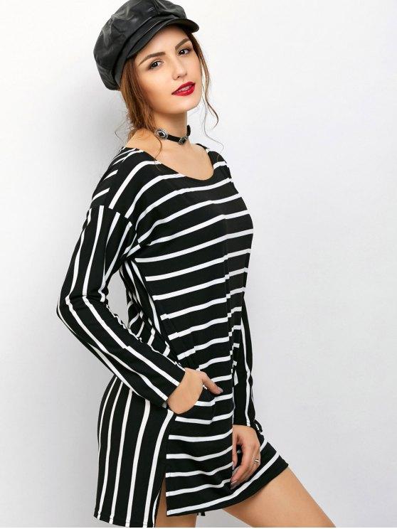 Side Slit Long Sleeve Striped Mini Dress - STRIPE XL Mobile
