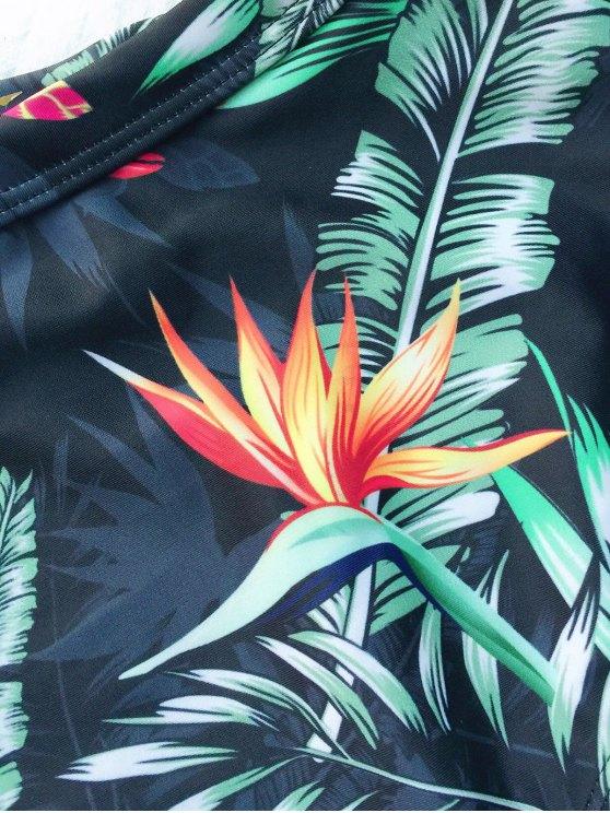 High Waist Leaf Print Underwire Bikini - BLACKISH GREEN XL Mobile