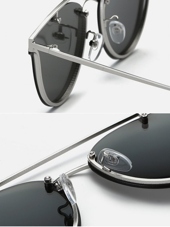 Crossbar Metal Butterfly Sunglasses - BLACK  Mobile