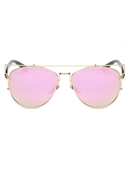 Crossbar Metal Mirrored Sunglasses - PINK  Mobile