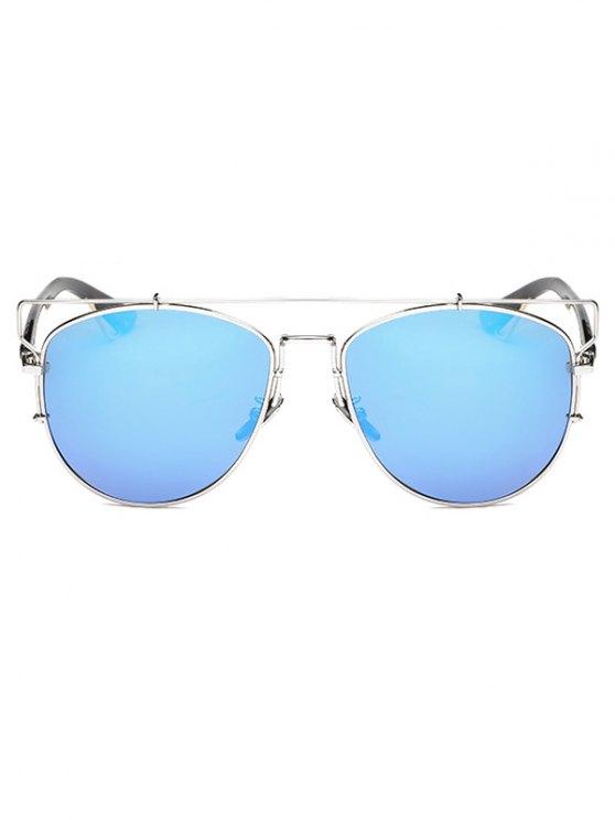 Crossbar Metal Mirrored Sunglasses - ICE BLUE  Mobile