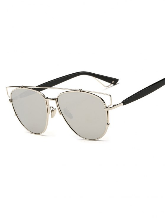 Crossbar Metal Mirrored Sunglasses -   Mobile