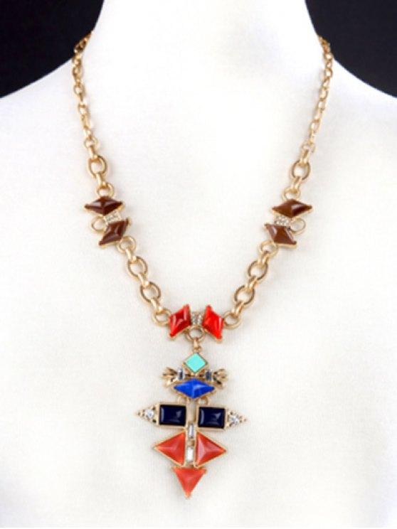 Rhinestone Geometric Vintage Pendant Necklace - GOLDEN  Mobile