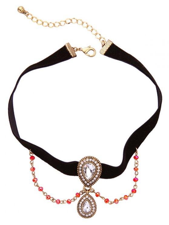 Vintage Rhinestone Teardrop Velvet Choker Necklace - BLACK  Mobile