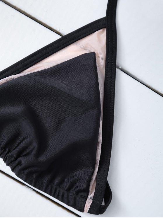 Mesh Panel Halter Swimsuit - BLACK M Mobile