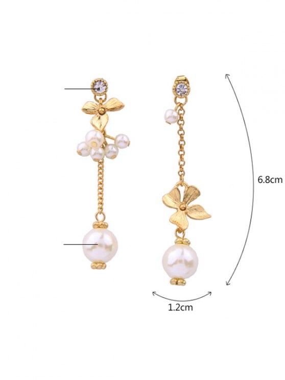 Rhinestone Faux Pearl Flower Asymmetric Earrings -   Mobile