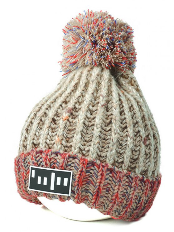 Color Block Cable Knit Pom Hat with Labelling -   Mobile