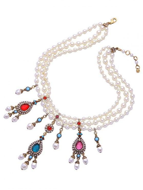 Teardrop Artificial Gem Pearl Necklace - WHITE  Mobile