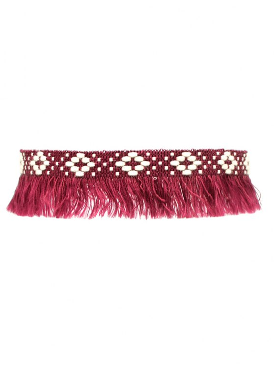 Fringed Woven Choker - WINE RED  Mobile