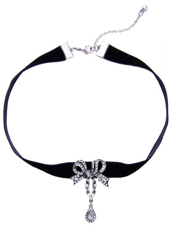 Bowknot Teardrop Rhinestone Velvet Choker Necklace - BLACK  Mobile