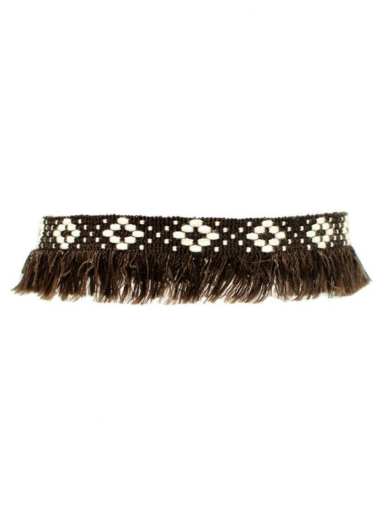 Fringed Woven Choker - BROWN  Mobile