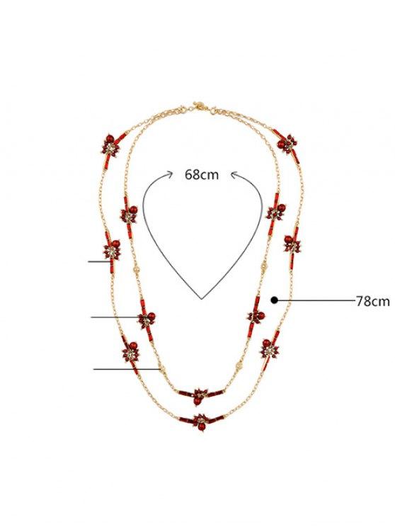 Layered Rhinestone Sweater Chain - RED  Mobile