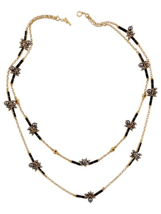 Layered Rhinestone Sweater Chain - BLACK  Mobile