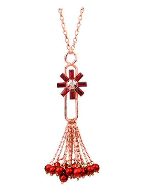 women's Flower Fringed Beads Rhinestone Sweater Chain - RED