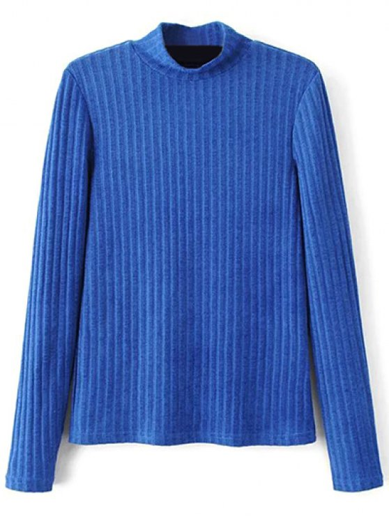 Ribbed High Neck Knitwear - BLUE M Mobile