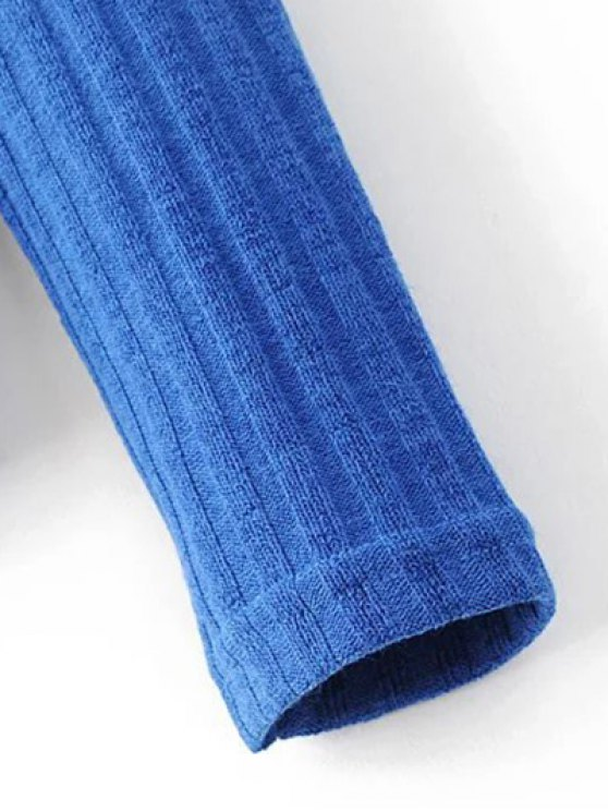 Ribbed High Neck Knitwear - BLUE S Mobile