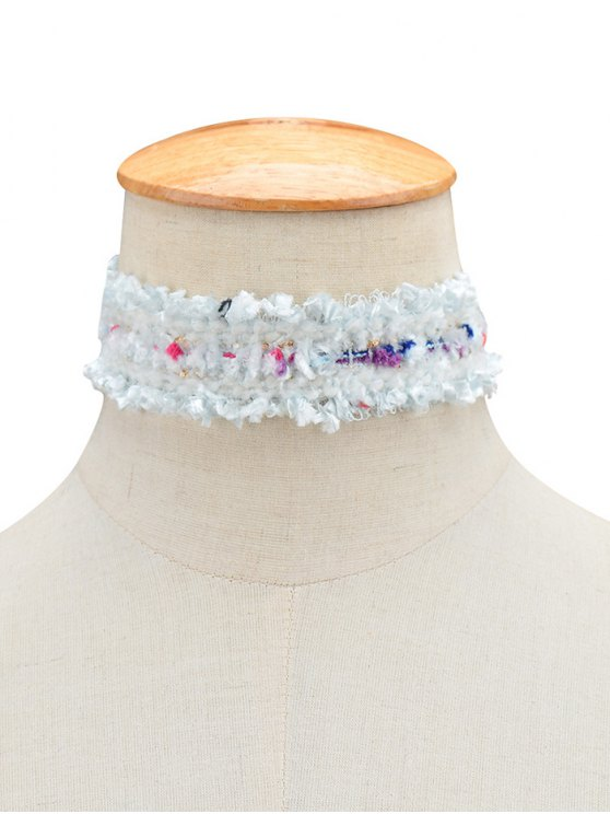 Fuzzy Knitted Fringed Choker - WHITE  Mobile