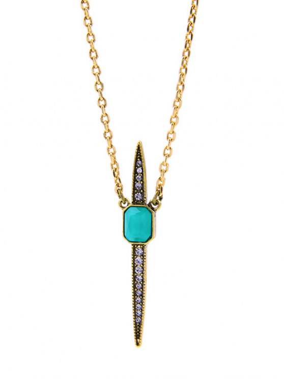 Vintage Rhinestone Necklace - GREEN  Mobile