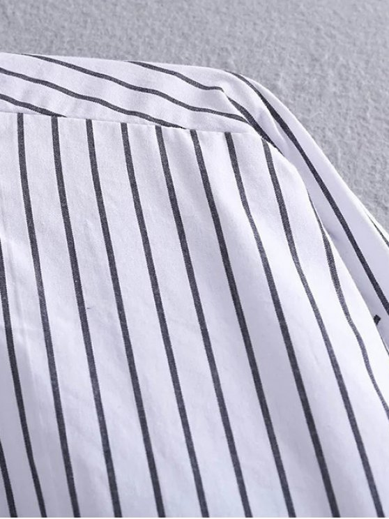 High Low Striped Pocket Shirt - STRIPE S Mobile