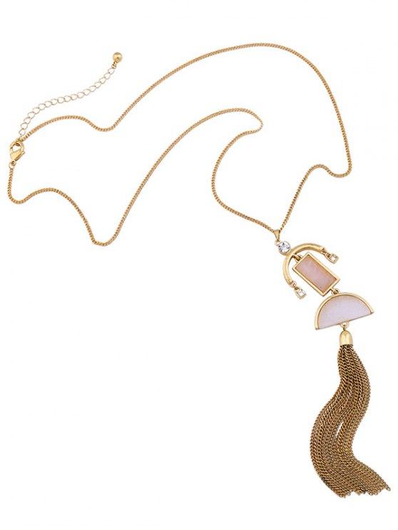 Alloy Fringed Rhinestone Sweater Chain - GOLDEN  Mobile