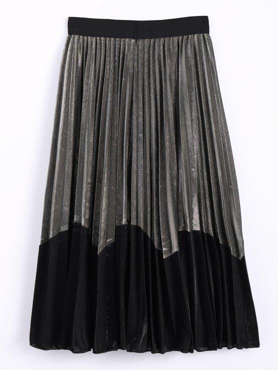 Color Block Velvet Pleated Skirt - GOLDEN ONE SIZE Mobile