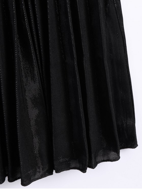 Color Block Velvet Pleated Skirt - SILVER AND BLACK ONE SIZE Mobile