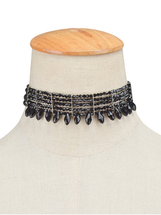 Beaded Choker Necklace - BLACK  Mobile
