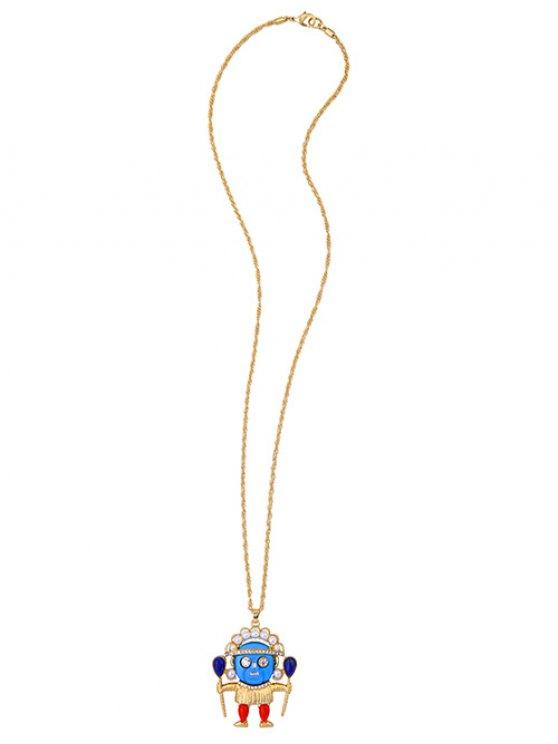 Rhinestone Faux Pearl Pendant Sweater Chain - GOLDEN  Mobile