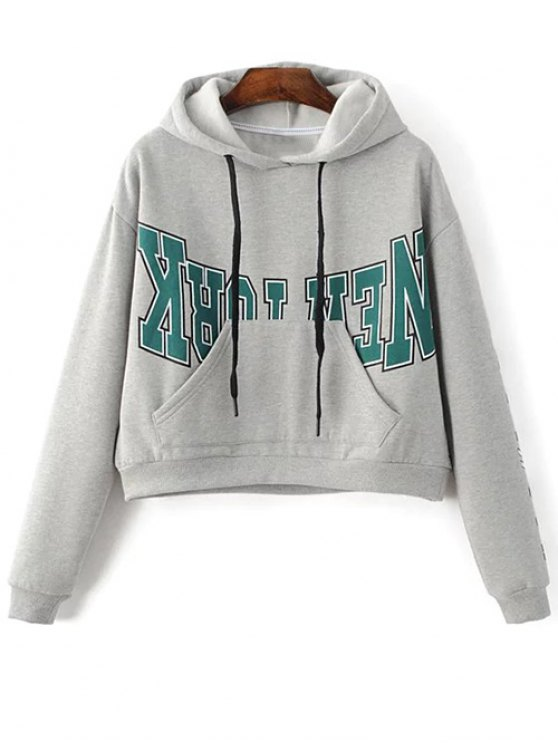Kangaroo Pocket New York Hoodie - GRAY S Mobile
