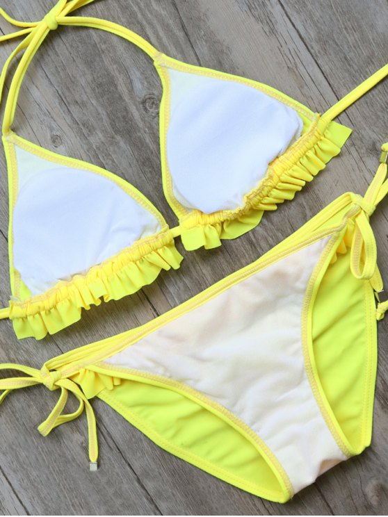 String Double Side Ruffles Bikini Set - YELLOW S Mobile