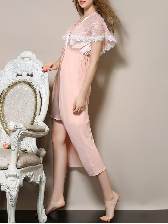 Plunging Neck Satin and Lace Babydoll - PINK M Mobile
