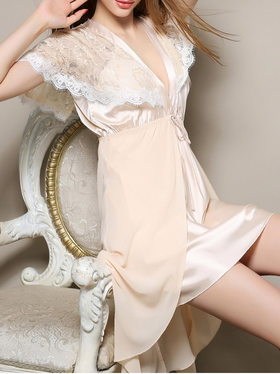 Plunging Neck Satin and Lace Babydoll - APRICOT M Mobile