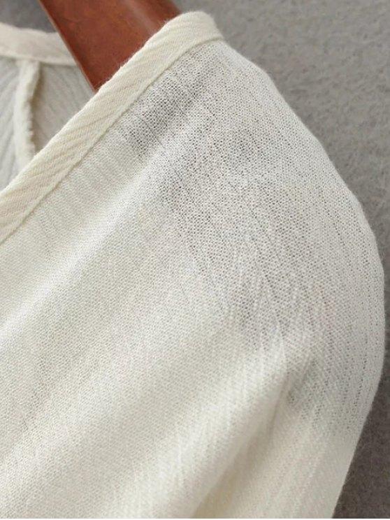 Linen Embroidered Surplice Blouse - WHITE L Mobile