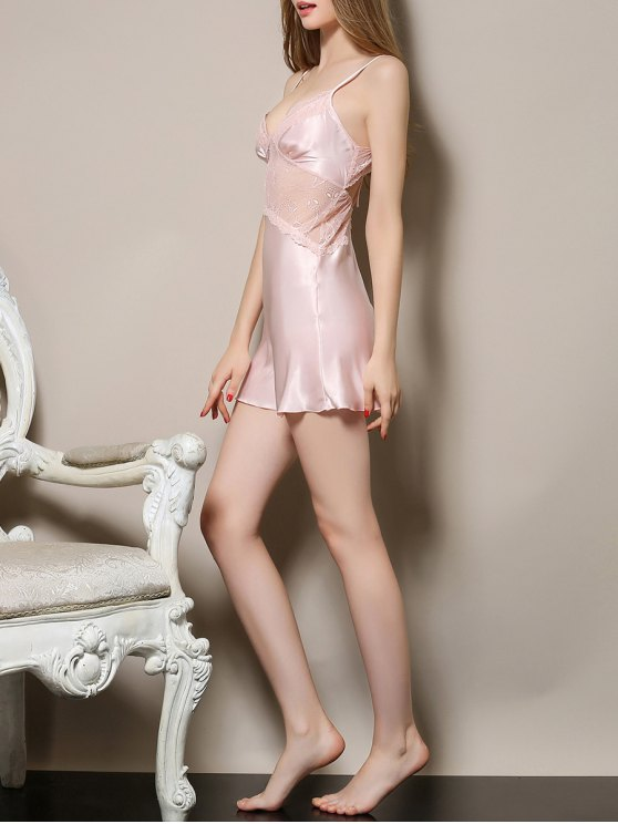 Cut Out Satin and Lace Cami Babydoll - LIGHT PINK M Mobile