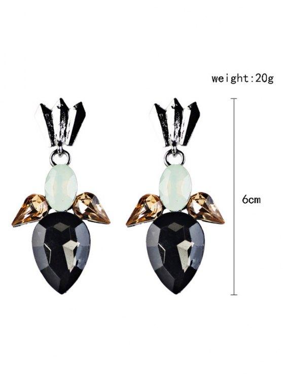 Artificial Crystal Embellished Water Drop Dangle Earrings -   Mobile