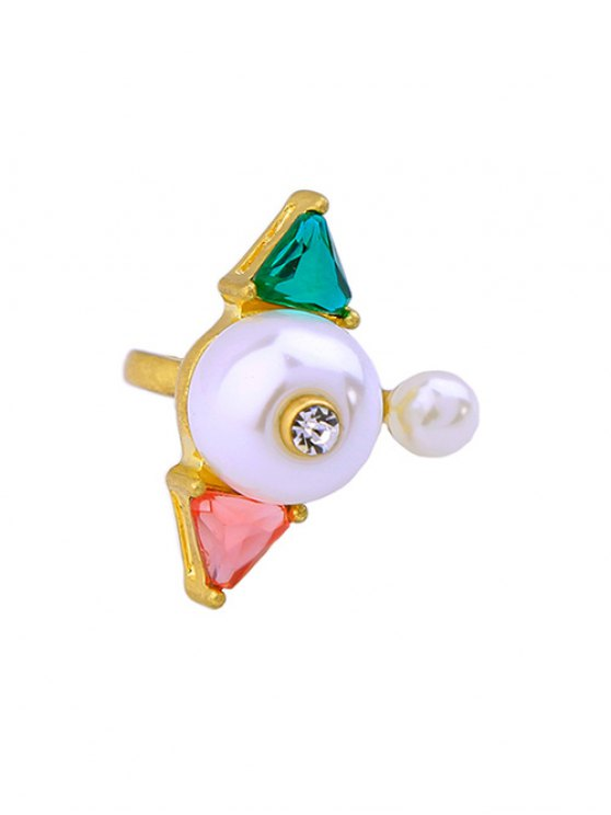 Artificial Gem Pearl Triangle Cuff Ring -   Mobile