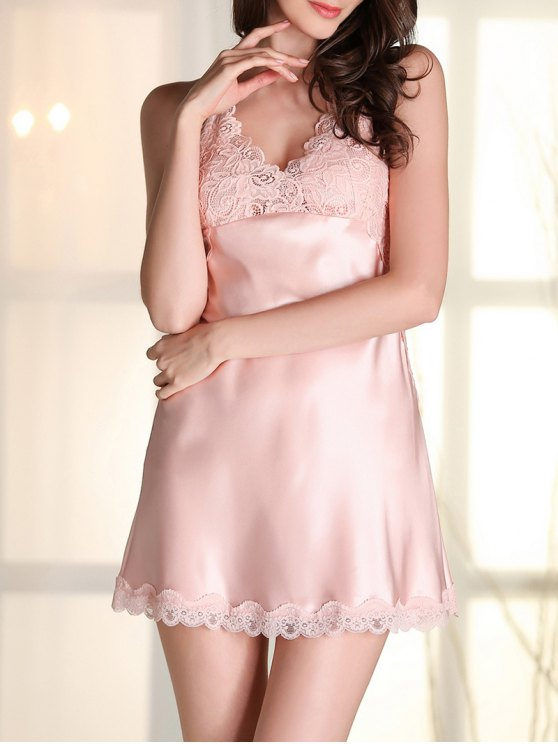 Satin Lace Panel Backless Babydoll - PINK L Mobile