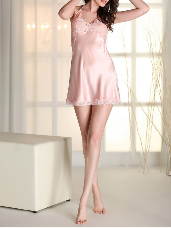 Satin Lace Panel Backless Babydoll - PINK XL Mobile