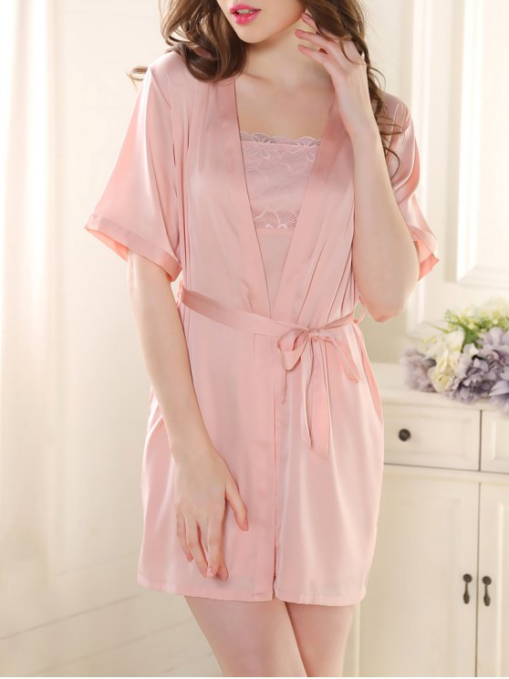Satin Babydoll with Kimono Cardigan - PINK L Mobile