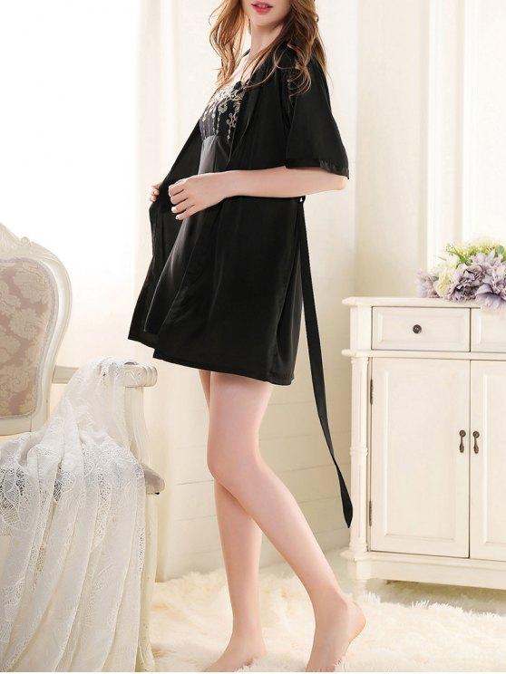 Satin Babydoll with Kimono Cardigan - BLACK M Mobile