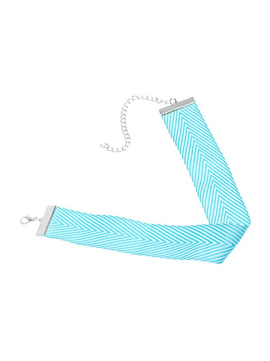 Geometric Printed Choker Necklace - BLUE  Mobile