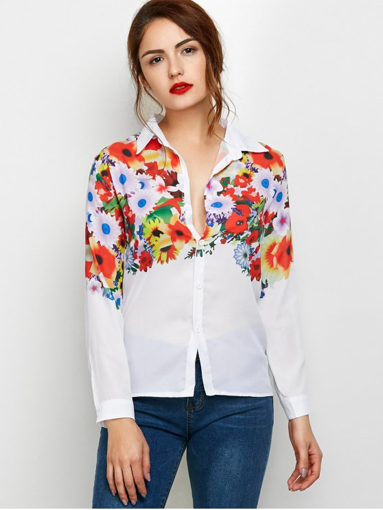 Fitting Floral Print Shirt - WHITE S Mobile